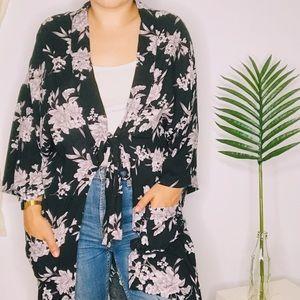 Spiritual Gangster Black Maya Floral Kimono Robe